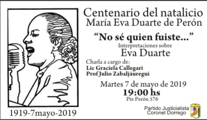 Acto conmemorativo centenario natalicio María Eva Duarte de Perón Cnel Dorrego