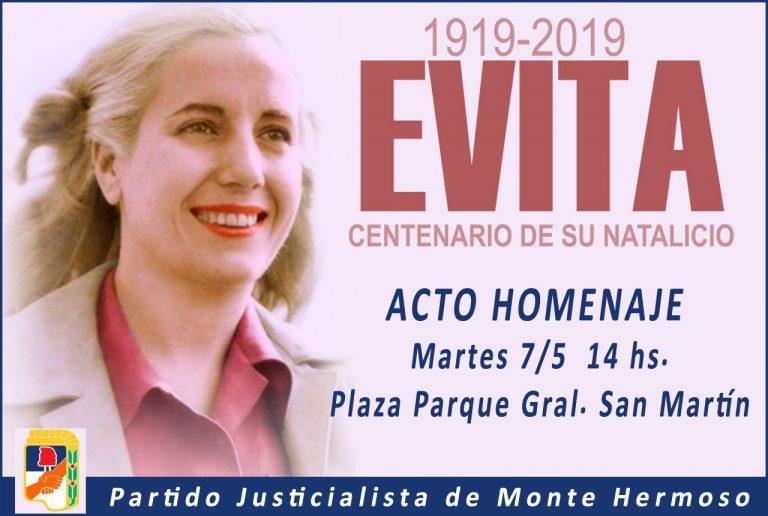 Acto homenaje en #MonteHermoso #EvitaEterna #EvitaCumple