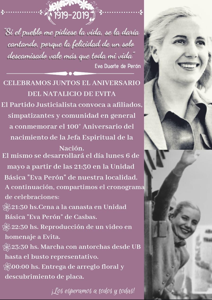 100° aniversario del nacimiento de nuestra eterna y amada Eva