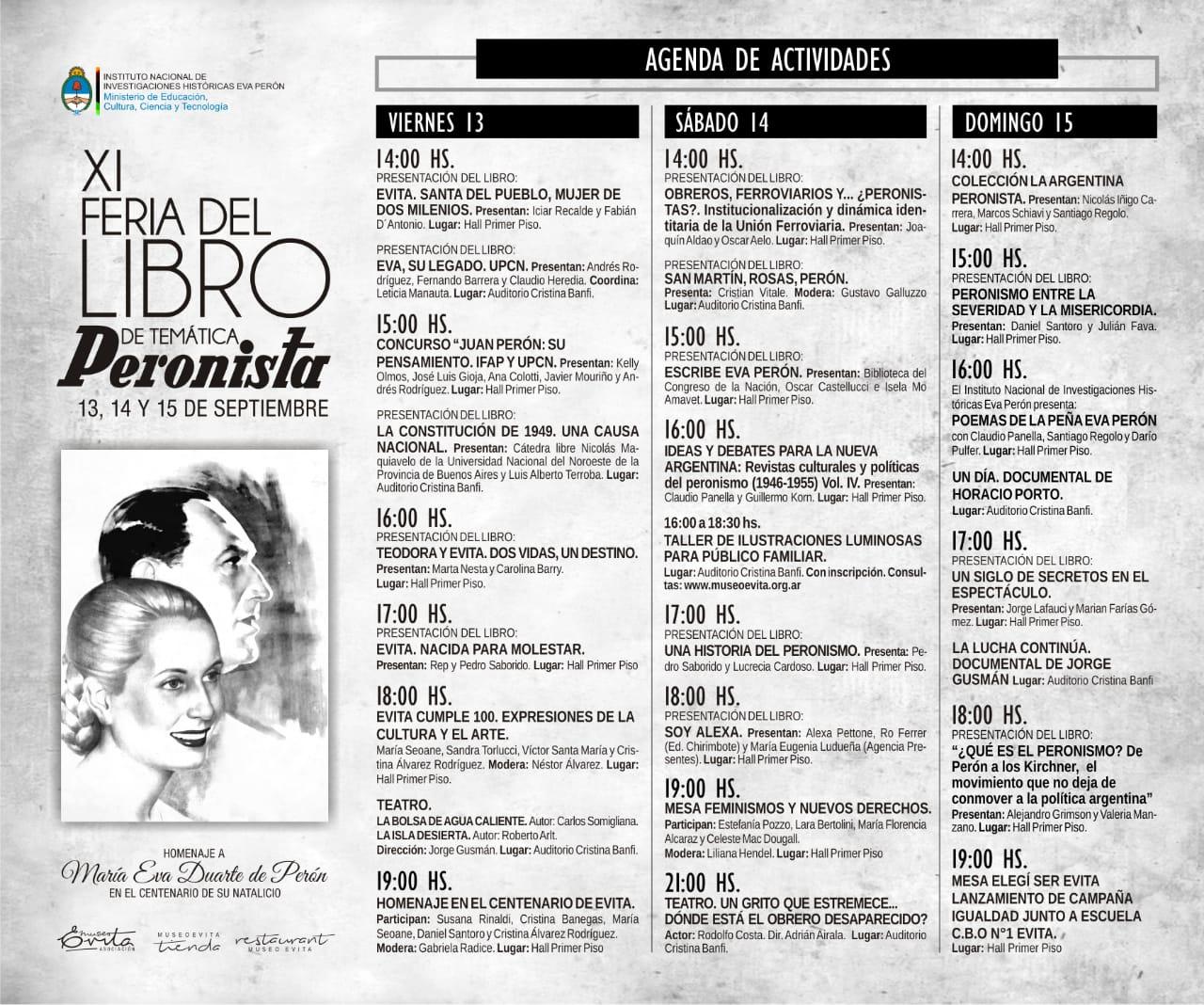 Feria del Libro de Temática Peronista: Programación